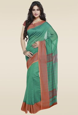 Janasya Green Weaved Saree With Blouse