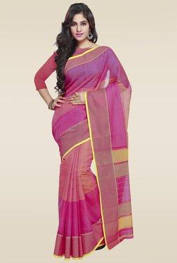 Janasya Pink Weaved Saree With Blouse