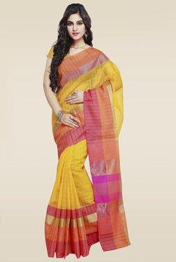 Janasya Yellow Weaved Saree With Blouse