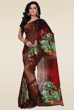 Janasya Brown Printed Saree With Blouse
