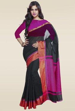 Janasya Black Cotton Weaved Saree