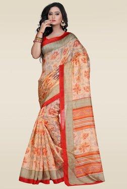 Janasya Orange Bhagalpuri Silk Saree