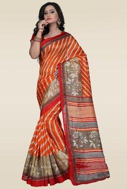 Janasya Orange Saree With Blouse