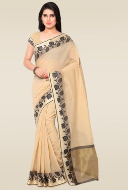 Janasya Cream Chanderi Saree