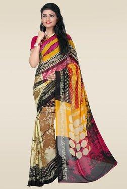 Janasya Multicolor Printed Saree With Blouse