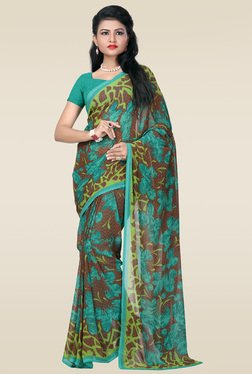 Janasya Multicolor Floral Print Saree With Blouse