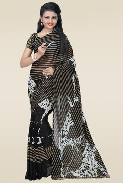 Janasya Black Printed Saree With Blouse