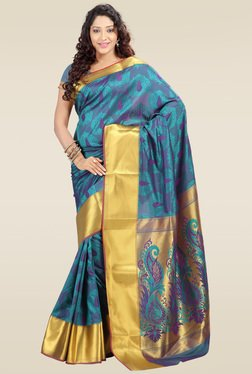 Janasya Sea Blue Kanjivaram Saree