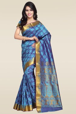 Janasya Blue Kanjivaram Art Silk Saree