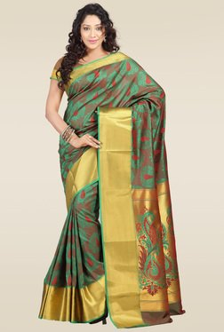 Janasya Green Kanjivaram Art Silk Saree