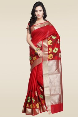 Janasya Red Kanjivaram Art Silk Saree