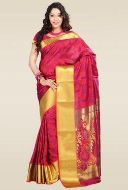 Janasya Red Kanjivaram Saree With Blouse