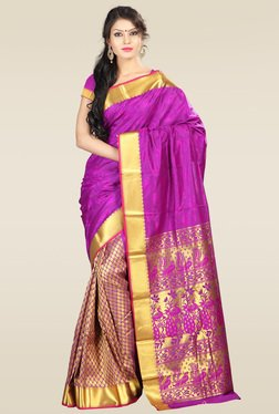 Janasya Purple Art Silk Saree With Blouse