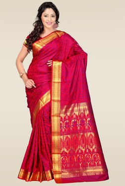 Janasya Red Foil Print Saree