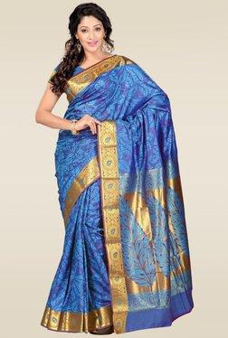 Janasya Blue Foil Print Kanjivaram Saree