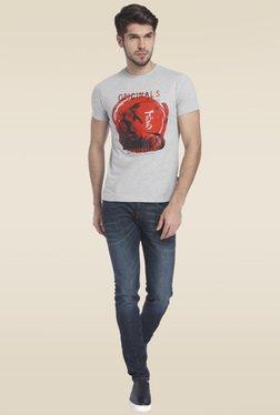 Jack & Jones Light Grey Short Sleeves Cotton T-Shirt
