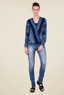 Oxolloxo Dark Blue Printed Top