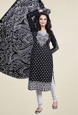 Ishin Black Printed Cotton Unstitched Dress Material