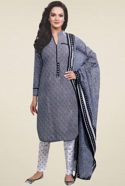 Ishin Grey Printed Cotton Dress Material