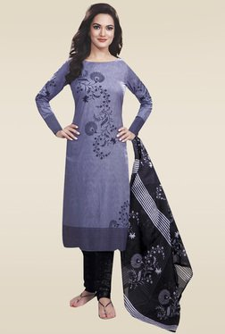 Ishin Grey & Black Printed Dress Material
