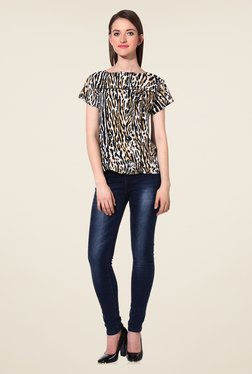 Oxolloxo Black & Brown Animal Print Top - Mp000000000890336
