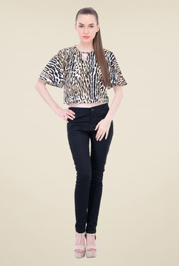 Oxolloxo Black & Brown Animal Print Top