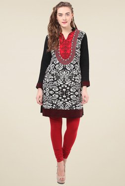 Duke Black Embroidered Mandarin Collar Kurti