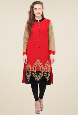 Duke Red Mandarin Collar Kurti