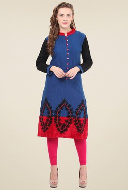 Duke Blue Mandarin Collar Kurti