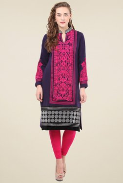 Duke Purple Embroidered Mandarin Collar Kurti