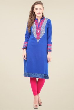 Duke Royal Blue Mandarin Collar Kurti