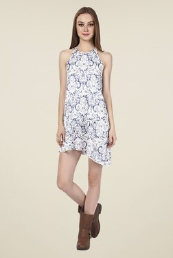 Oxolloxo Off White & Blue Printed Dress