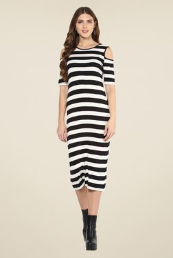 Femella Black & White Striped Dress - Mp000000000892754