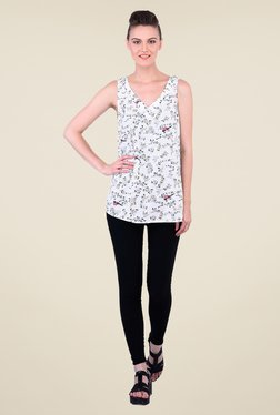 Oxolloxo Off White Floral Print Top