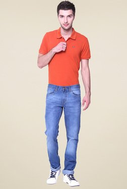 Vudu Blue Cotton Slim Fit Mid Rise Jeans