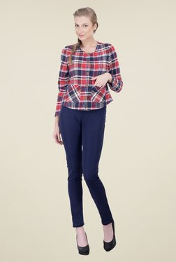 Oxolloxo Red & Navy Checks Blazer