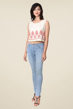 Juniper White Embroidered Top