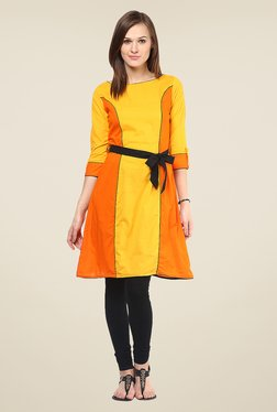 Nayo Yellow & Orange Solid Kurti