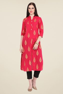 Nayo Red Printed Kurta
