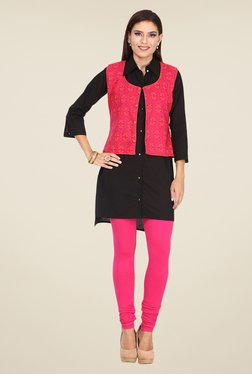 Nayo Black & Pink Printed Kurti With Jacket