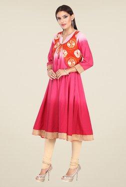 Nayo Pink & Orange Printed Anarkali Kurta With Jacket