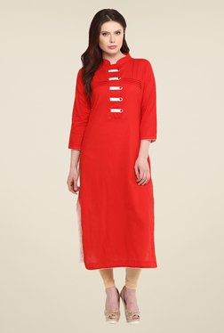 Nayo Red Solid Kurta