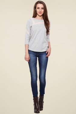 Saiesta Grey 3/4th Sleeves Cotton Top