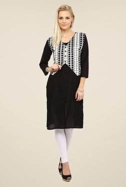 Nayo Black & Grey Printed Kurti With Jacket