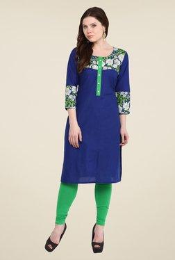 Nayo Blue Floral Print Kurti