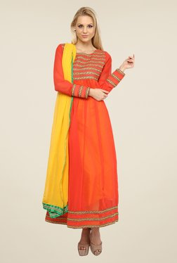 Nayo Orange Embroidered Anarkali Kurta