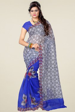 Ishin Blue & Black Printed Saree