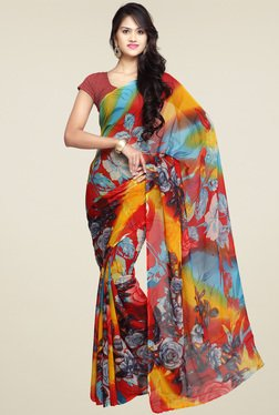 Ishin Red & Yellow Printed Saree With Blouse