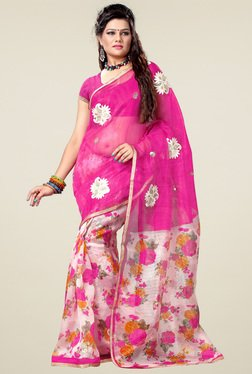 Ishin Pink & White Printed Saree