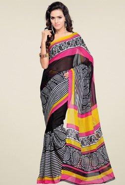 Ishin Black Printed Saree With Blouse